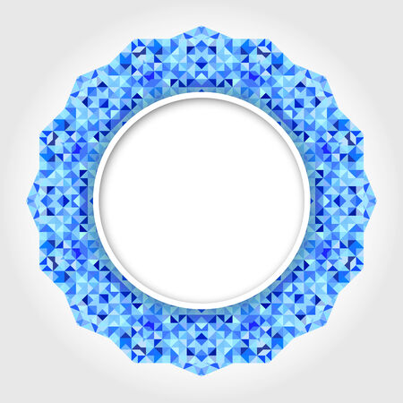 Abstract White Circle Frame with Blue Digital Border Vector