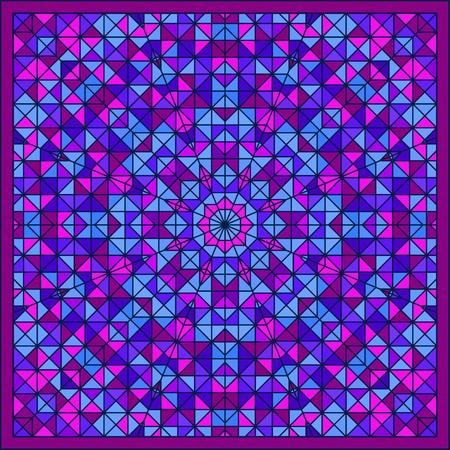 tucker: Abstract Colorful Digital Decorative Flower Star. Geometric Contrast Line Trendy Banner. Blue Violet Artistic Backdrop. Autumn Color