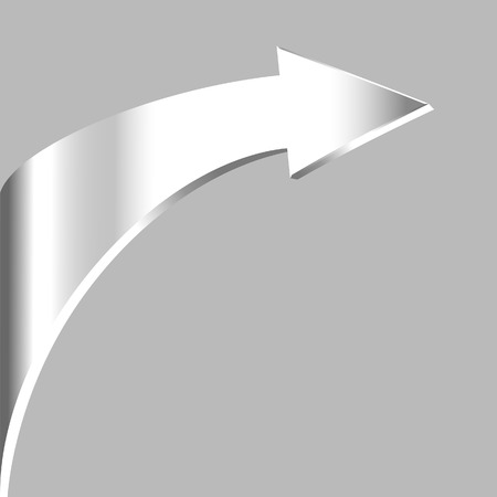 3 point perspective: Silver arrow and neutral grey background Illustration