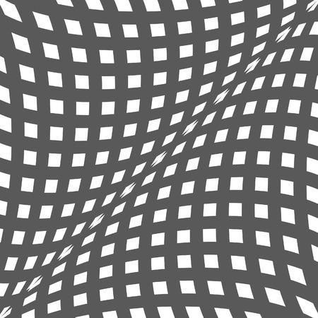 arte optico: Ilusión óptica blanco y negro. Op fondo del arte del vector con el marco. Resumen líneas de distorsión efecto Vectores