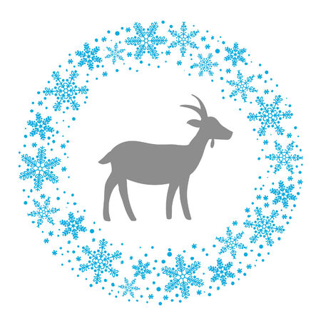 bonny: Winter Christmas Round Wreath with Snowflakes and Goat. Blue Grey and White Color Vector Illustration