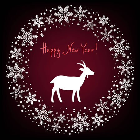 bonny: Winter Christmas Wreath Background with Snowflakes and Goat