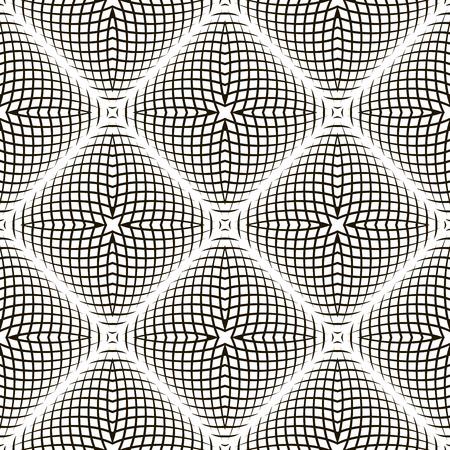 arte optico: Geométrico blanco y negro Vector Shimmering Optical Illusion. Efecto de parpadeo Moderno. Op Art Design