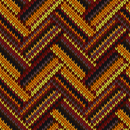 Seamless Knitted Pattern. Yellow Orange Red Brown Grey Color Swatch Vector