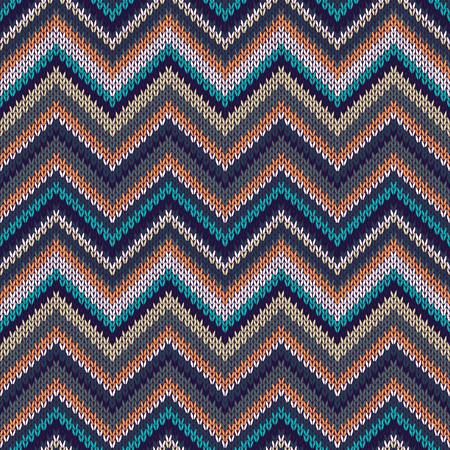 spokes: Seamless geometric ethnic spokes knitted pattern. Blue white orange beige color knitwear sample Illustration