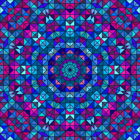 round window: Abstract Colorful Digital Decorative Flower. Geometric Contrast Line Star and Blue Pink Cyan Color Artistic Backdrop