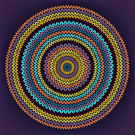 african culture: Style Circle Simple Color Needlework Background, Ornamental Yellow Orange Blue Round Knitted Pattern Illustration