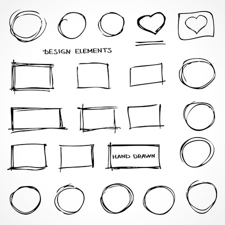 Set of Hand Drawn Isolated Scribble Design Elements for Business Presentations Vector