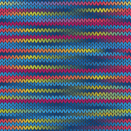 checkered scarf: Style Seamless Knitted Melange Pattern. Blue Yellow Red Color Vector Illustration