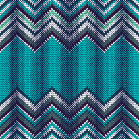 fabric samples: Horizontally Seamless Ethnic Geometric Knitted Pattern. Style Blue White Black Emerald Background Illustration