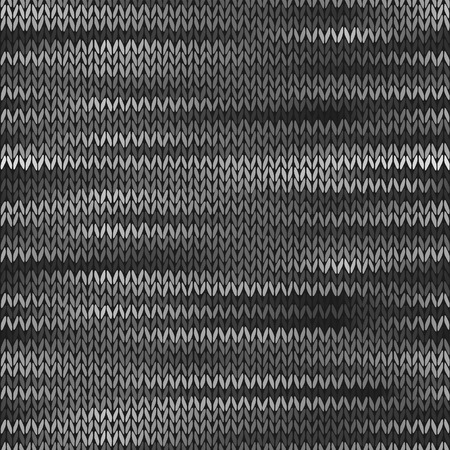 Style Seamless Knitted Melange Pattern. White Grey Color Illustration
