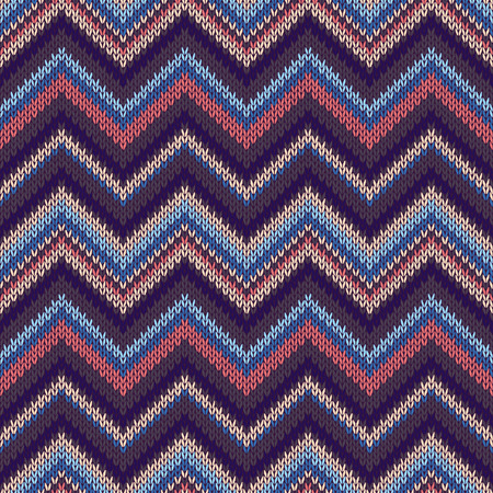 spokes: Seamless geometric ethnic spokes knitted pattern. Blue white red pink color knitwear sample