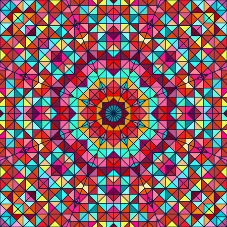tapis: Abstract Colorful Digital Decorative Flower Star. Geometric Contrast Line Trendy Banner. Blue Yellow Orange Red Cyan Holiday Backdrop