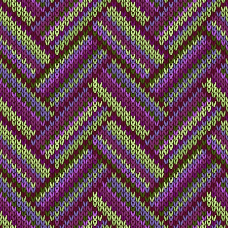 Multicolored Seamless Spring Knitted Pattern. Green Lilac Color