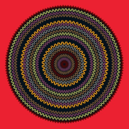Style Circle Simple Color Vector Needlework Background, Ornamental Round Knitted Pattern