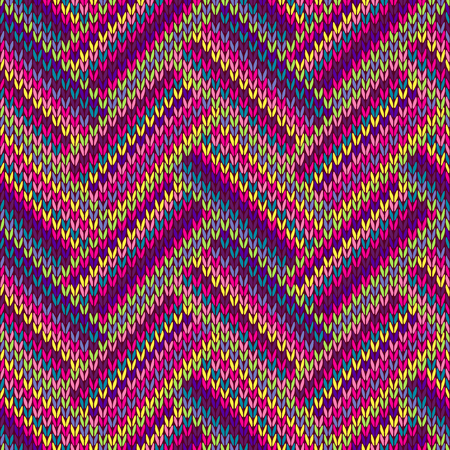 Knitted Seamless Red Blue Pink Yellow Violet Orange Green Ornamental Striped Pattern Vector