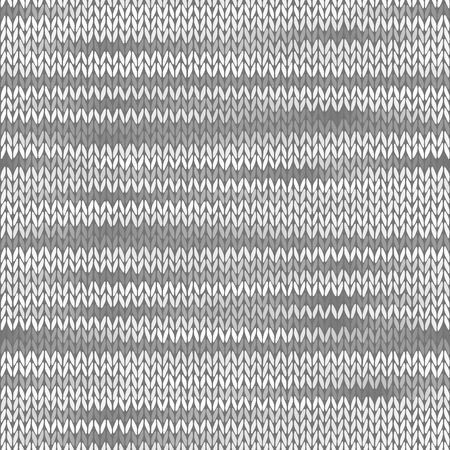 tricot: Style Seamless Knitted Melange Pattern. White Grey Color Vector Illustration