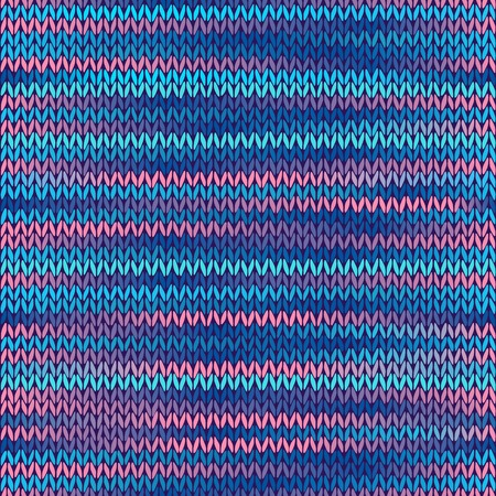 checkered scarf: Style Seamless Knitted Melange Pattern. Blue Pink Color Vector Illustration Illustration