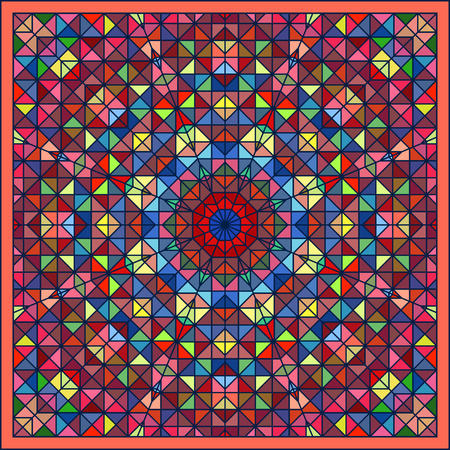 tapis: Abstract Colorful Digital Decorative Flower Star. Geometric Contrast Line Trendy Banner. Blue Yellow Orange Red Cyan Green Artistic Backdrop. Autumn Color