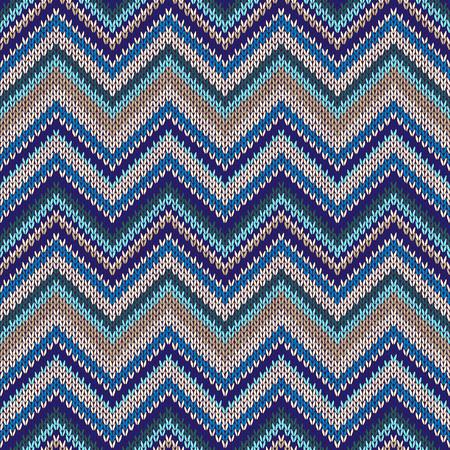 spokes: Seamless geometric ethnic spokes knitted pattern. Blue white beige color knitwear sample