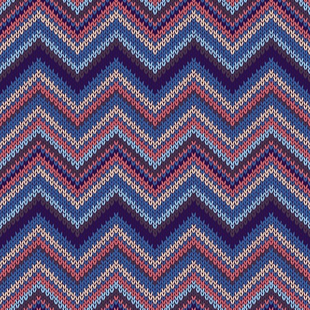 spokes: Seamless geometric ethnic spokes knitted pattern. Blue white orange red color knitwear sample Illustration