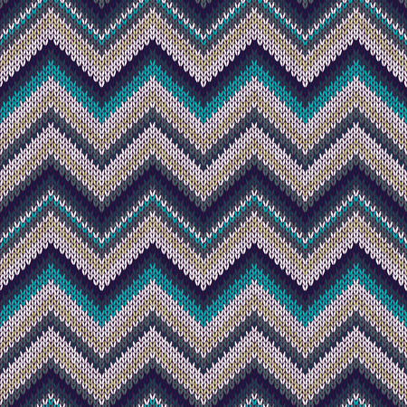 cotton fabric: Seamless geometric spokes knitted pattern. Blue white beige color knitwear sample Illustration