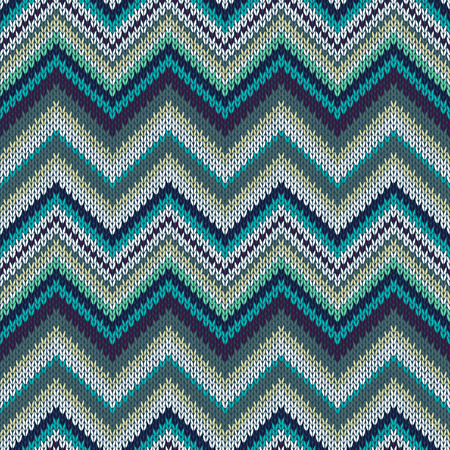 fancywork: Seamless geometric spokes knitted pattern. Blue white yellow green color knitwear sample