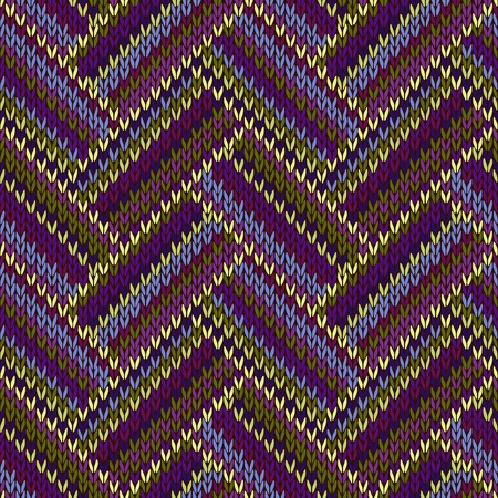 swatch: Seamless Knitted Pattern. Blue Violet Green Color Swatch Illustration