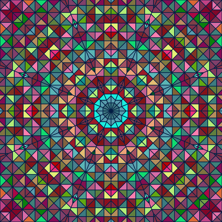 Abstract Colorful Digital Decorative Flower. Geometric Contrast Line Sta. Green Blue Pink Red Cyan Color Artistic Backdrop Vector