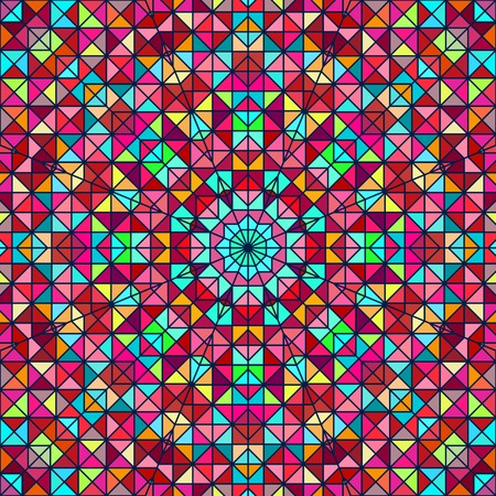Abstract Colorful Digital Decorative Flower. Geometric Contrast Line Star and Blue Pink Red Cyan Color Artistic Backdrop Vector