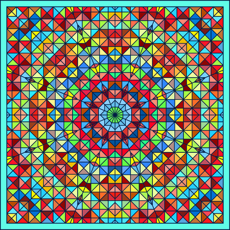 tapis: Abstract Colorful Digital Decorative Flower. Geometric Contrast Line Star and Blue Pink Red Cyan Color Artistic Star Backdrop