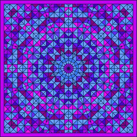 tapis: Abstract Colorful Digital Decorative Flower Star. Geometric Contrast Line Trendy Banner. Blue Violet Artistic Backdrop. Autumn Color