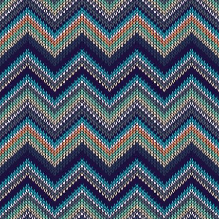 menswear: Seamless geometric ethnic spokes knitted pattern. White blue black orange green beige color knitwear sample Illustration