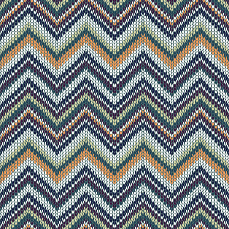 topical: Seamless geometric spokes knitted pattern. Green white beige orange color knitwear sample Illustration