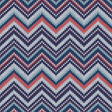 knitwear: Seamless geometric ethnic spokes knitted pattern. Blue white red grey black color knitwear sample