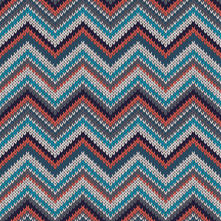 spokes: Seamless geometric ethnic spokes knitted pattern. Blue white red grey black color knitwear sample