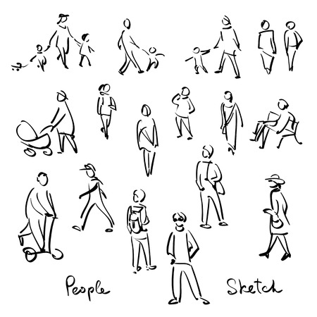 happy people: Casual People Sketch. Outline hand drawing vector Illustration