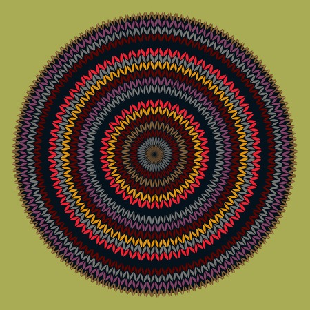 needlework: Style Circle Simple Color Vector Needlework Background, Ornamental Round Knitted Pattern
