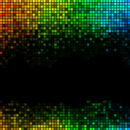 disco lights: Multicolor abstract lights disco background. Square pixel mosaic vector