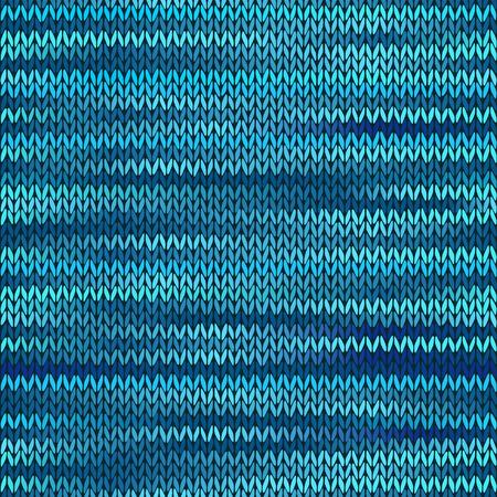 Style Seamless Knitted Melange Pattern. Blue Black Color Vector Illustration Vector