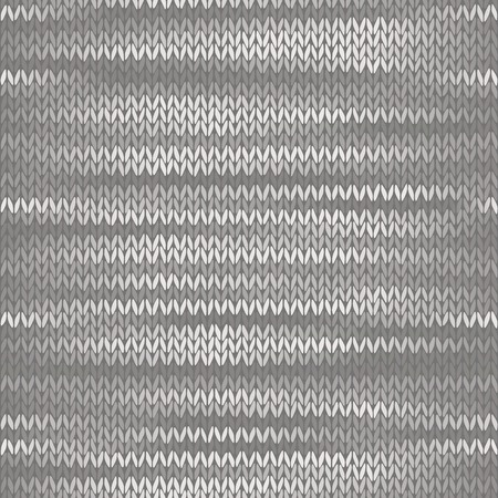stockinet: Style Seamless Knitted Melange Pattern. White Grey Color Vector Illustration