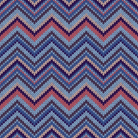 spokes: Seamless geometric ethnic spokes knitted pattern. Blue white orange beige color knitwear sample Illustration