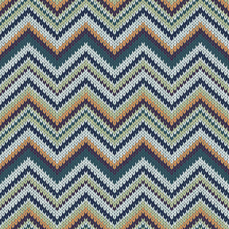 topical: Seamless geometric ethnic spokes knitted pattern. White orange green color knitwear sample Illustration