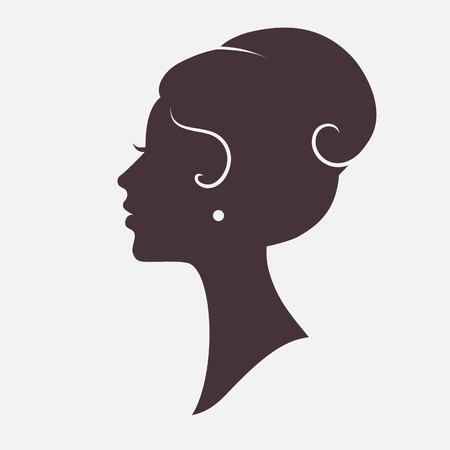 fashionable female: Girl Face Silhouette with Stylish Hairstyle Illustration