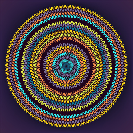 indianische muster: Art-Kreis Einfache Farbhandarbeiten Hintergrund, Zier Gelb Orange Blau Runde Strickmuster