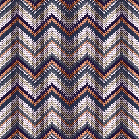 topical: Seamless geometric ethnic spokes knitted pattern. Blue white orange green color knitwear sample
