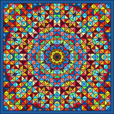 red rug: Abstract Colorful Digital Decorative Flower Star. Geometric Contrast Line Trendy Banner. Blue Yellow Orange Red Cyan Green Artistic Backdrop. Autumn Color