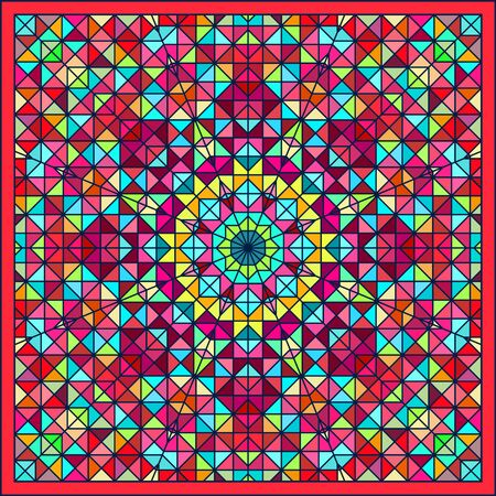 Abstract Colorful Digital Decorative Flower. Geometric Contrast Line Star and Blue Pink Red Cyan Color Artistic Star Backdrop Vector