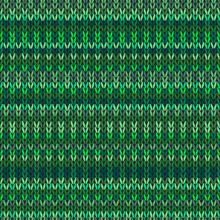 knitted: Vector Needlework Background, Green Ornamental Knitted Pattern