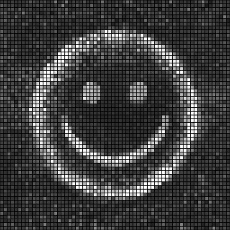 white smile: Smile. Black and white abstract lights disco background. Square pixel mosaic vector Illustration